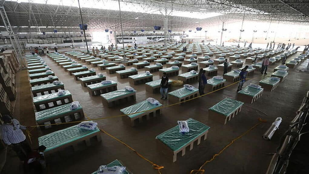 The largest coronavirus hospital is in New Delhi and has cardboard beds