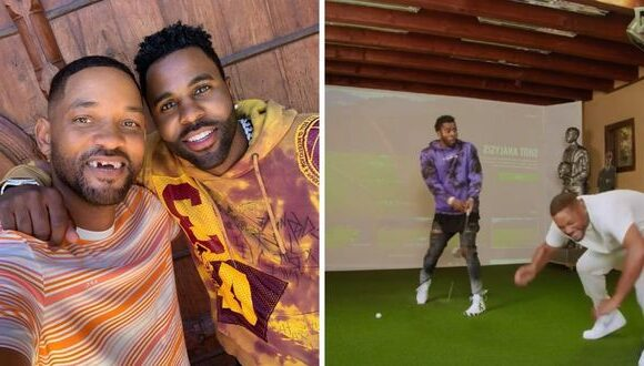 "Will Smith ""loses"" his teeth playing golf with Jason Derulo 