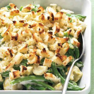 Green beans with creamy mushrooms and shallots In our healthy green bean casserole take, the rich béchamel sauce is swapped out for spicy Greek yogurt, and the shallots are sautéed instead of fried. The result? A creamy, best-for-you side that is just as satisfying. Get the Green Beans with Creamy Mushrooms and Shallots Recipe