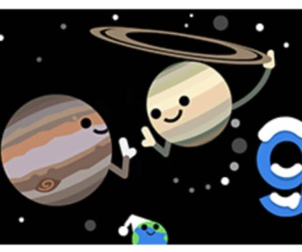 Google dedicates its doodle today to the winter solstice and the great conjunction of Saturn and Jupiter, what is it?