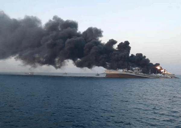Iran's Biggest Navy Ship Sinks After Fire In Gulf Of Oman